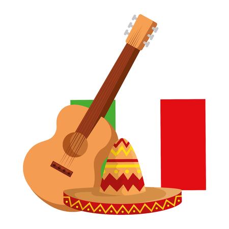 Sombrero de mariachi mexicano con guitarra y bandera, diseño de ilustraciones vectoriales Ilustración de vector