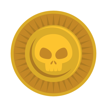antique coin with skull vector illustration design Ilustração