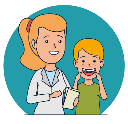 dentist woman and patient boy with teeth care vector illustration Vectores