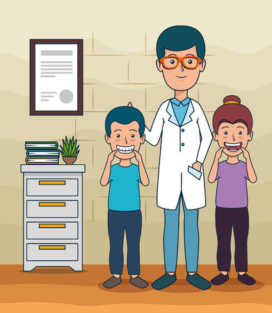 dentist man and patients children to teeth care vector illustration