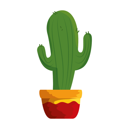 cactus in pot icon vector illustration design