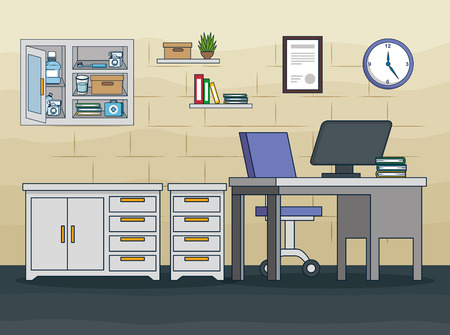 dentist office with medicine treatment and equipment vector illustration Illustration
