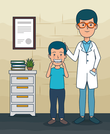 dentist man with patient boy and teeth care vector illustration Banque d'images - 125818615