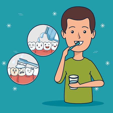 patient helathcare hygiene with toothbrush and mouthwash vector illustration