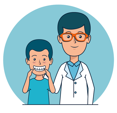 dentist man with patient boy to teeth care vector illustration Illustration
