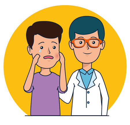 dentist man and patient boy with toothache vector illustration