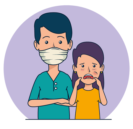 dentist man and patient girl with toothache vector illustration