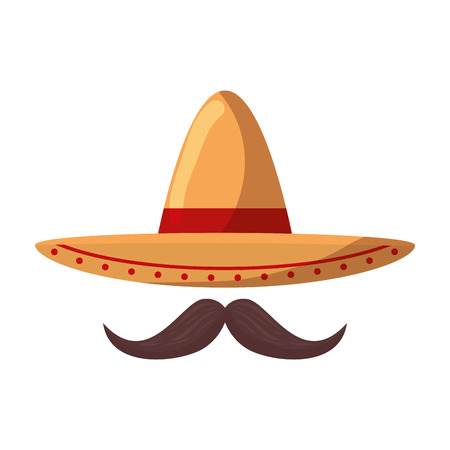 mexican mariachi hat with mustache vector illustration design Vectores
