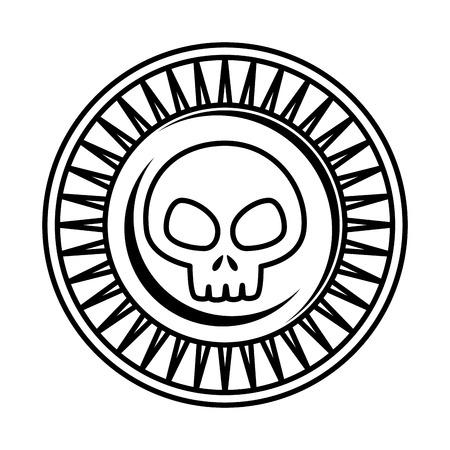 Pièce de monnaie antique avec conception d'illustration vectorielle crâne
