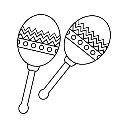 mexican maracas instrument icon vector illustration design