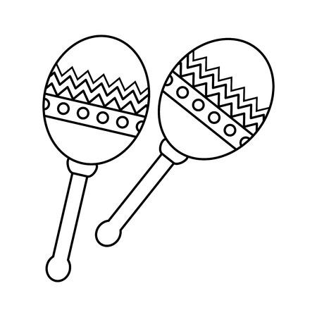 mexican maracas instrument icon vector illustration design