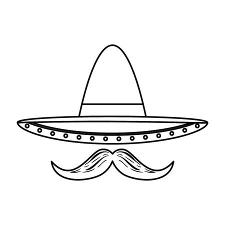 Sombrero de mariachi mexicano con bigote, diseño de ilustraciones vectoriales