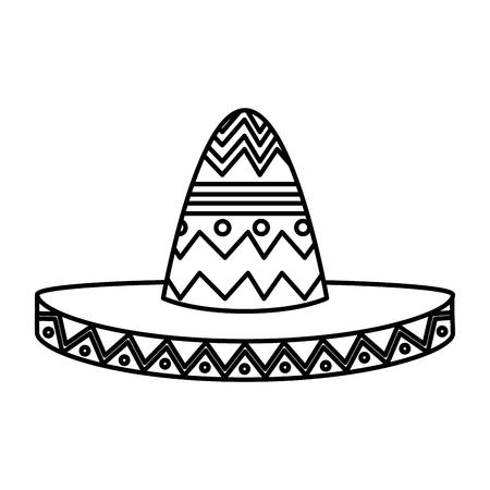 Diseño de ilustración de vector de icono de sombrero de mariachi mexicano