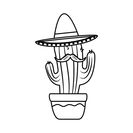 mexican cactus with mariachi hat character vector illustration design