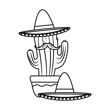 mexican cactus with mariachi hat character vector illustration design Foto de archivo - 125818647