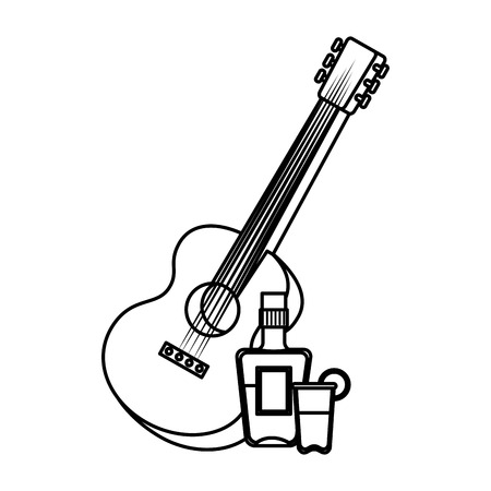 guitar instrument with tequila bottle vector illustration design