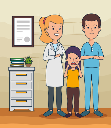 dentist man with woman and girl with toothache vector illustration