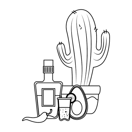 mexican cactus with tequila and vegetables vector illustration design Foto de archivo - 125818653