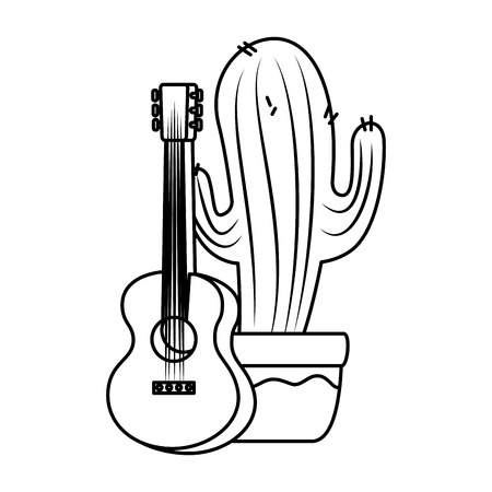 mexican cactus with guitar vector illustration design