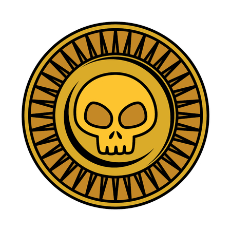 antique coin with skull vector illustration design Stock Illustratie
