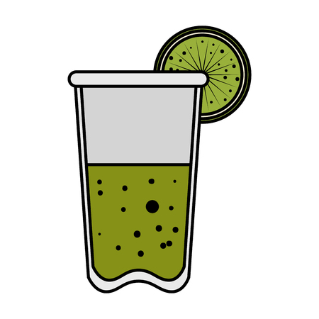 tequila cup with lemon beverage icon vector illustration design