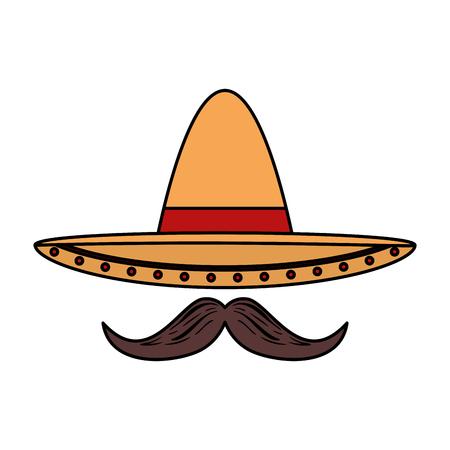 Sombrero de mariachi mexicano con bigote, diseño de ilustraciones vectoriales Ilustración de vector