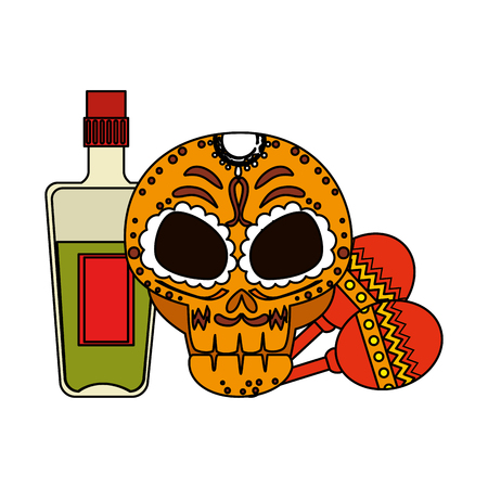 death day mask with tequila bottle and maracas vector illustration design Illustration