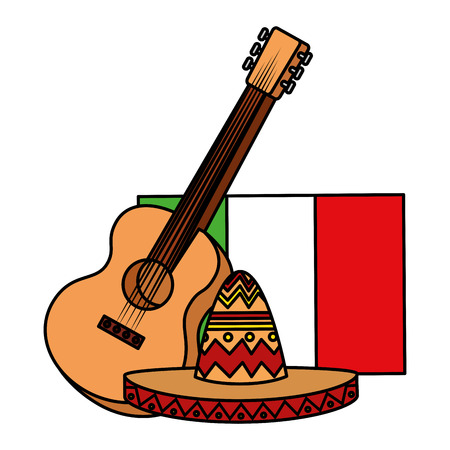 mexican mariachi hat with guitar and flag vector illustration design Illustration