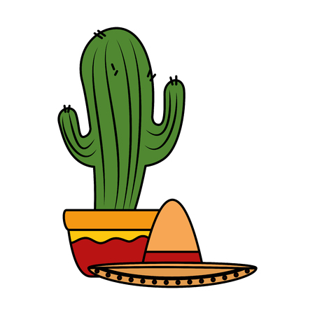 mexican cactus with mariachi hat character vector illustration design Foto de archivo - 125818677