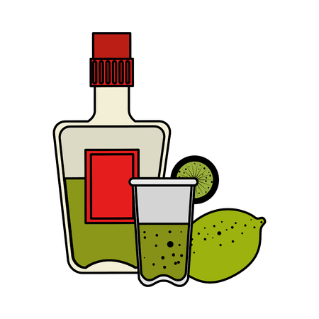 tequila bottle with cup and lemon vector illustration design