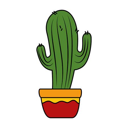cactus in pot icon vector illustration design