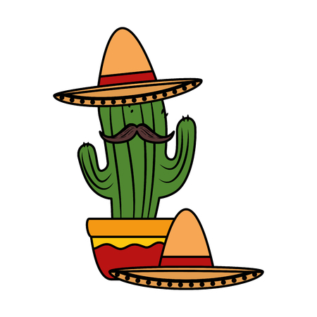 mexican cactus with mariachi hat character vector illustration design Foto de archivo - 125818686