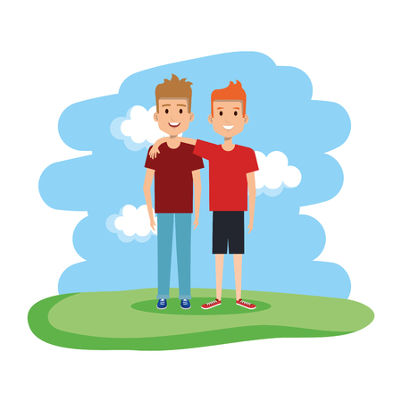 couple of men in the field vector illustration design Stock fotó - 125818698