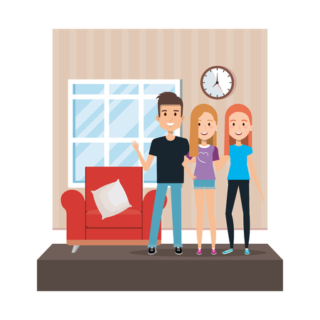 group of people in the livingroom vector illustration design