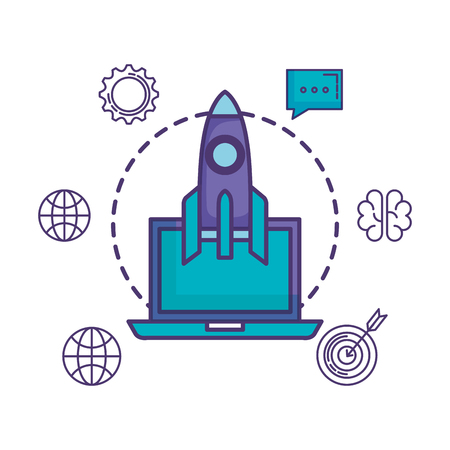 rocket launcher with laptop and business icons vector illustration design