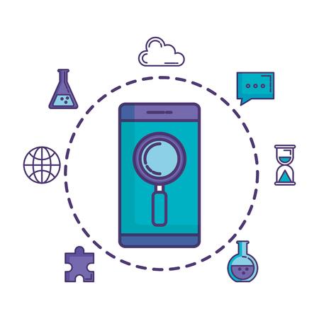 Smartphone con lupa y establecer iconos, diseño de ilustraciones vectoriales