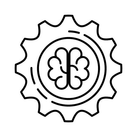gear machinery with brain vector illustration design