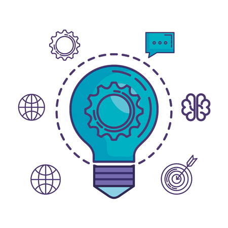 bulb light with gear and business icons vector illustration design