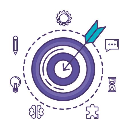target with business set icons vector illustration design Illustration