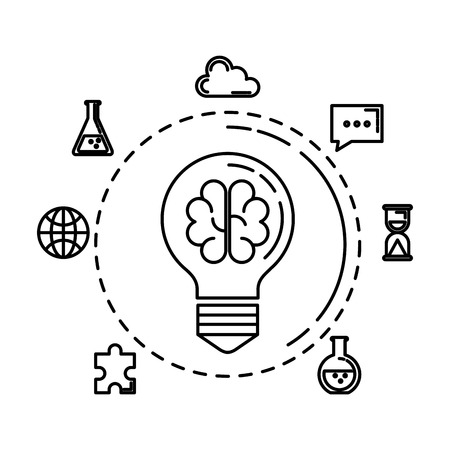 bulb light with brain storming and business icons vector illustration design