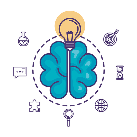 brain storming with set business icons vector illustration design Illustration