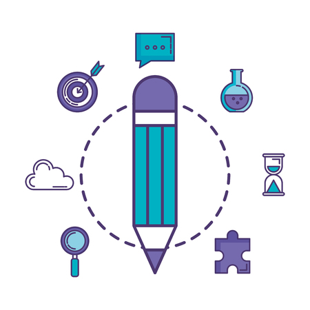 pencil write with business icons vector illustration design