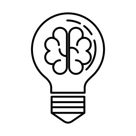 bulb light with brain storming vector illustration design