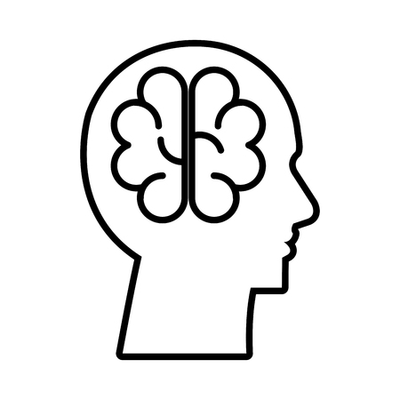 profile with brain storming vector illustration design