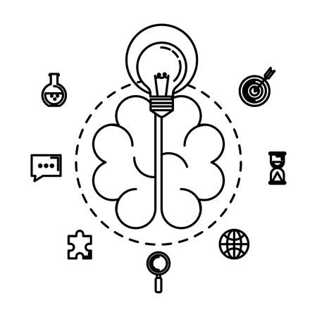brain storming with set business icons vector illustration design Vettoriali
