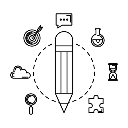 pencil write with business icons vector illustration design 일러스트