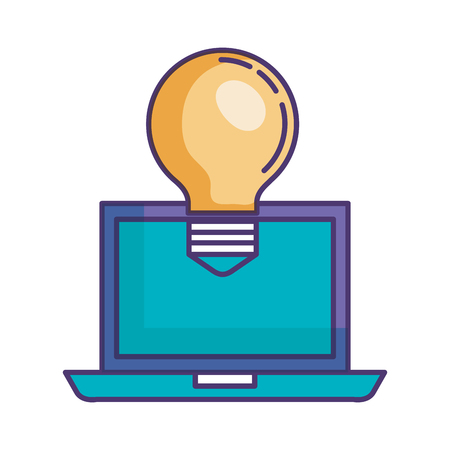 bulb light with laptop vector illustration design