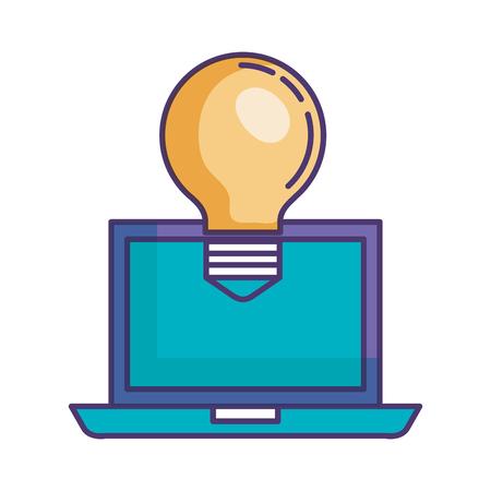 bulb light with laptop vector illustration design