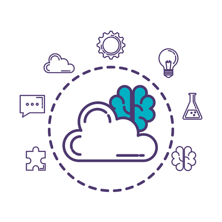 cloud computing with set icons download vector illustration design