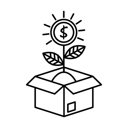 coins cash money with leafs plant in box vector illustration design 版權商用圖片 - 125818860